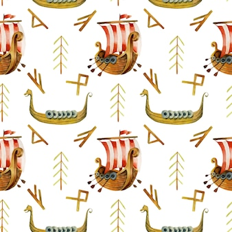 Watercolor viking drakkars and runes seamless pattern