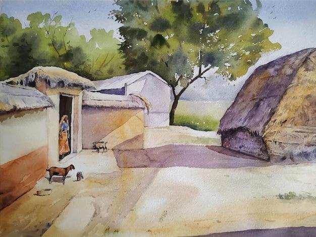 Watercolor village scene landscape painting hand drawn