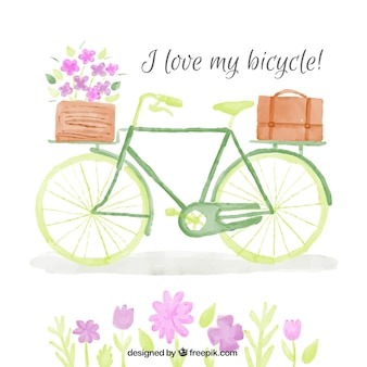 Watercolor vintage bicycle with basket and flowers background