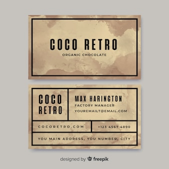 Watercolor vintage business card template