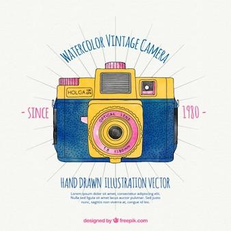 Watercolor vintage camera