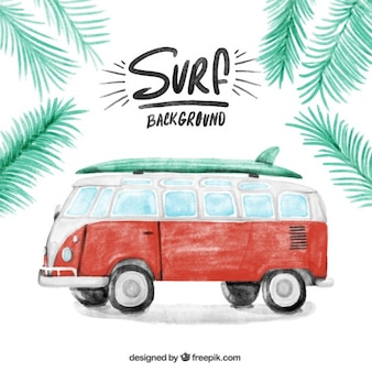 Watercolor vintage caravan with a surfboard background