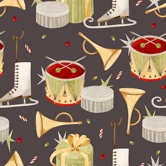 水彩ヴィンテージクリスマスギフトシームレスパターン壁紙