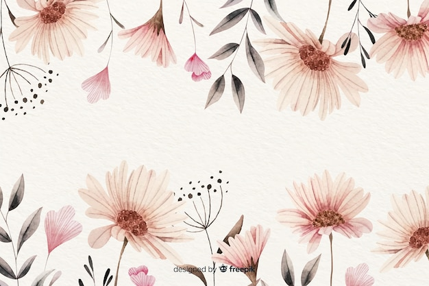 Watercolor vintage floral background