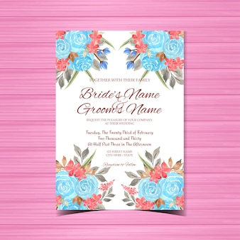 Watercolor vintage floral wedding invitation card template