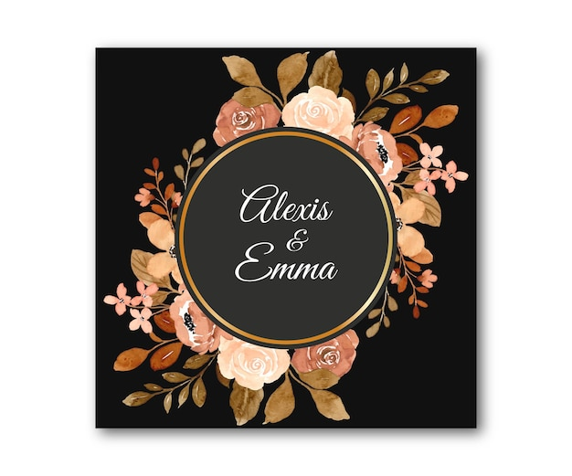Watercolor vintage flower frame with golden circle