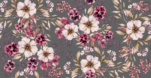 豪華なグレーのプリントに水彩ヴィンテージの花のシームレスなパターン。手描きの水彩花柄。