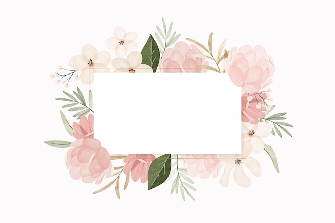Watercolor vintage flowers with white frame