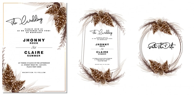 Watercolor vintage pine cone wedding invitation & frame