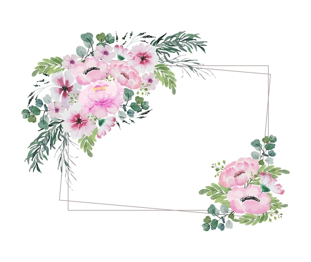 Акварельный винтажный букет розовых цветов и зеленые листья в углу прямоугольной рамки из двойной проволоки