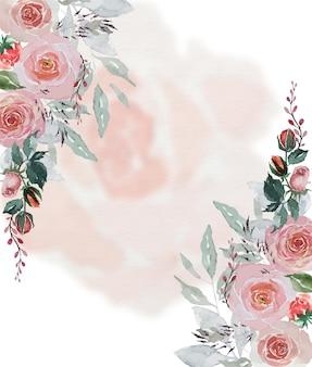 카드 장식을위한 부드러운 장미 꽃잎 배경으로 수채화 빈티지 빨간 장미와 녹색 잎