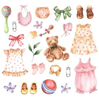 服、アクセサリー、おもちゃで生まれたばかりの女の赤ちゃんのための水彩画のヴィンテージセット。