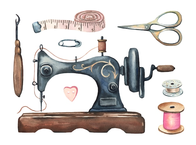 Watercolor vintage sewing set.