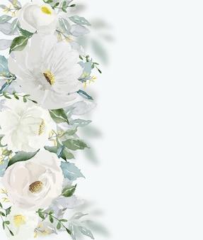 Акварель старинный белый цветок и зеленые листья красивые для художественного оформления