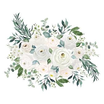 수채화 빈티지 흰색 꽃 꽃다발