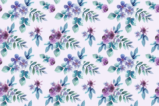 Watercolor violet flowers seamless pattern