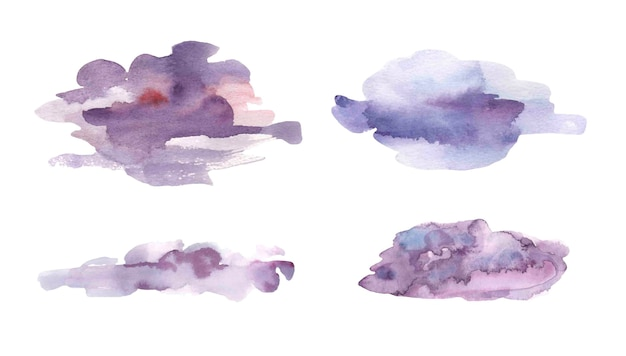 Watercolor violet textured splashes .