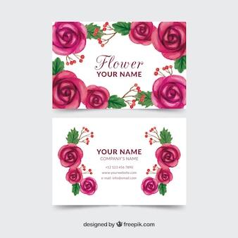 水彩の訪問カード、紫の花