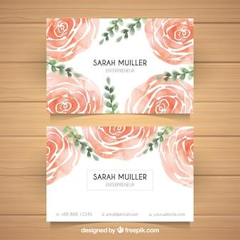 赤い花の水彩画の訪問カード