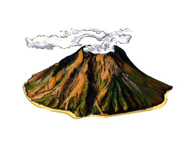 Watercolor volcano on white