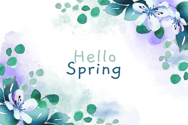 Watercolor wallpaper hello spring