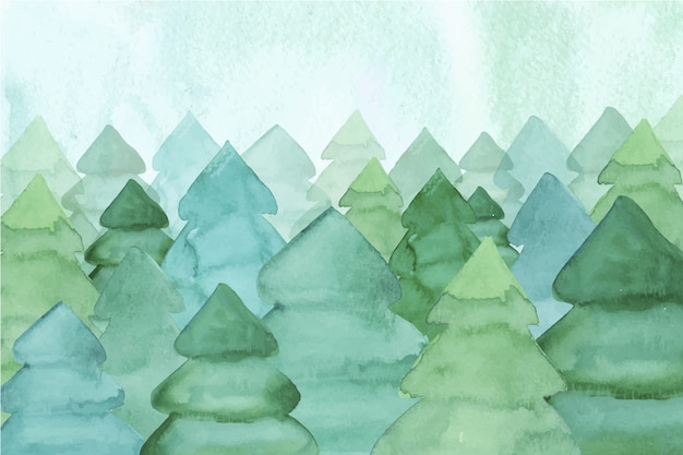 Watercolor wallpaper with fir trees