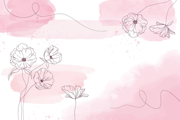 Watercolor wallpaper with hand-drawn elements