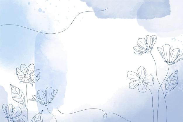 Carta da parati acquerello con elementi disegnati a mano