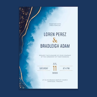 Watercolor washes wedding invitation with golden splatters