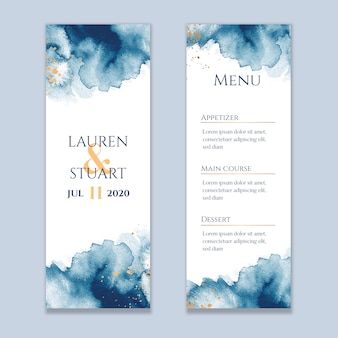 Watercolor washes wedding menu