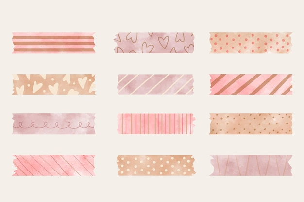 Watercolor washi tape collection