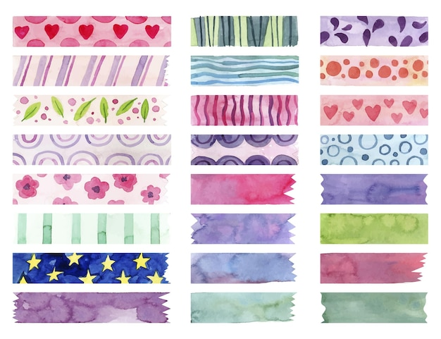 Watercolor washi tape pack