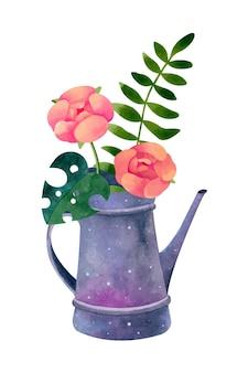 꽃과 수채화 물을 깡통