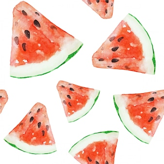 Watercolor watermelon healthy vegan food seamless pattern