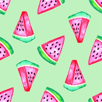 Watercolor watermelon seamless pattern
