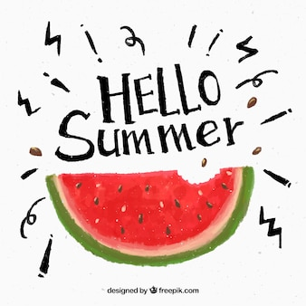 Watercolor watermelon summer background