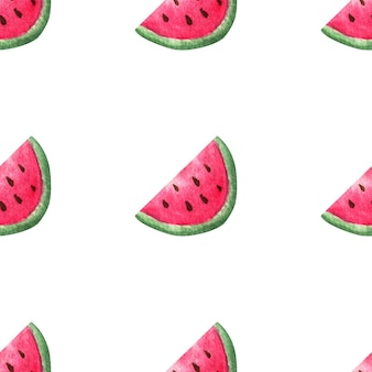 Watercolor watermelons. seamless pattern