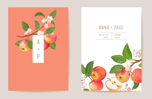 수채화 결혼식 사과 꽃 초대장입니다. 가을 과일, 꽃, 잎 카드. 식물 저장 날짜 템플릿 벡터, 단풍 표지, 현대 포스터, 최신 유행 디자인, 고급 배경
