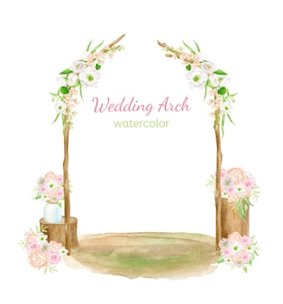 Watercolor wedding arch scene. hand drawn wood archway decorated with flowers