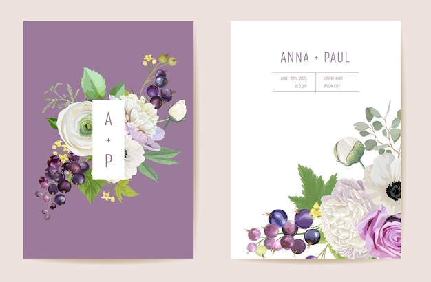 Watercolor wedding black currant berries floral invitation. berry, anemone, peony, rose flowers, leaves card. botanical save the date template vector, summer cover, modern poster, trendy design