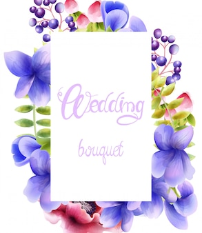Watercolor wedding bouquet of orchid flowers