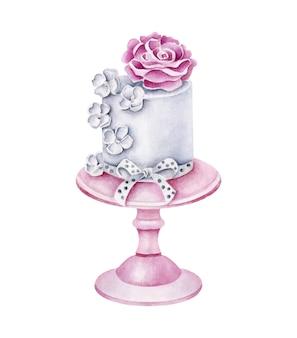 Акварельный свадебный торт на подставке