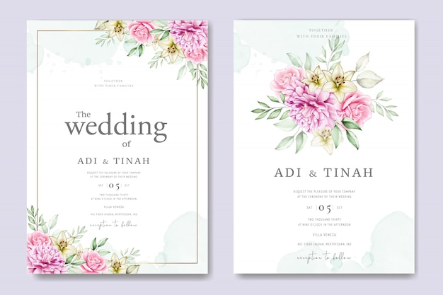 Watercolor wedding card set template with beautiful floral and leaves