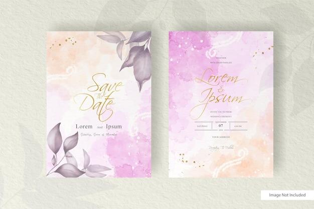 수채화 웨딩 카드 템플릿 집합입니다. 수채화 꽃 프레임 미니멀 스타일