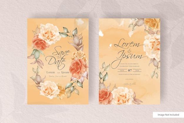花と葉の装飾の花のイラストで設定された水彩のウェディングカードテンプレート