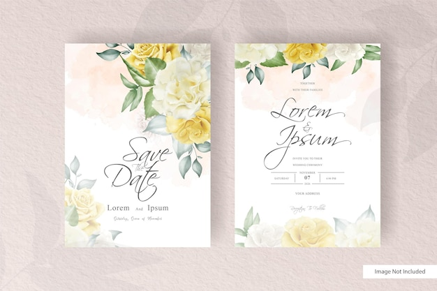 Watercolor wedding card template set with floral and leaves decoration flowers illustration