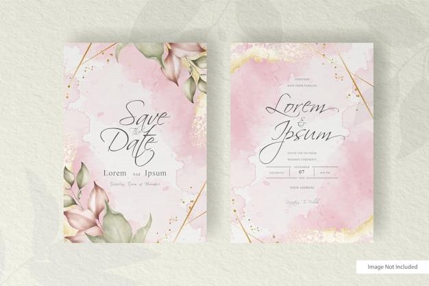 꽃으로 설정 수채화 웨딩 카드 템플릿입니다. 수채화 꽃 프레임 미니멀 스타일