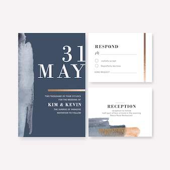 Watercolor wedding card template with brushstrokes