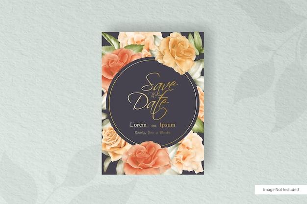 꽃과 잎 수채화 웨딩 카드 템플릿