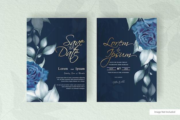 Шаблон свадебной открытки акварель с цветами и листьями